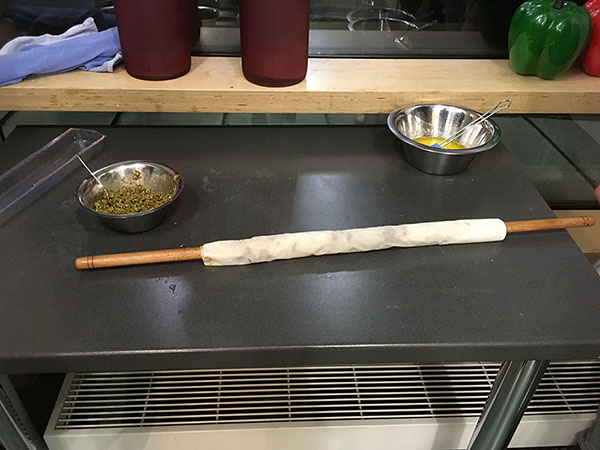 Baklava aufgerollt